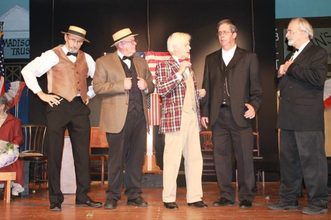 Michael Hulett (center) as Harold Hill with The Three Wise Men Quartet (Joe Chilcoat, George Korch, Tom Nisbet, Jeff Whall) as the School Board Members in Music Man