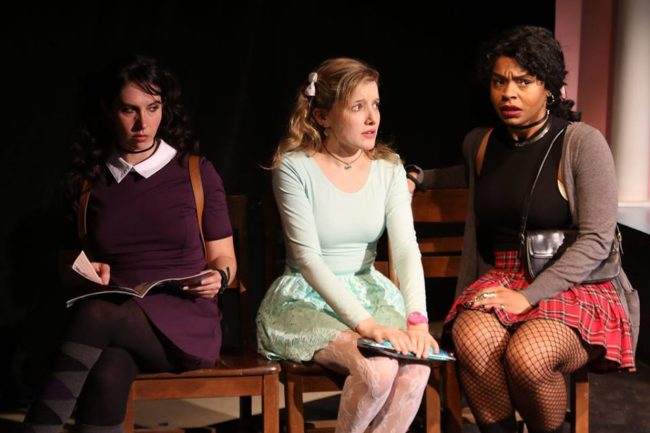 Chara Bauer (left) as Patty, with Emily Sucher (center) as Jeanine, and Tatiana Ford (right) as Renee in Schoolgirl Figure