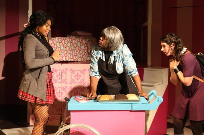 Tatiana Ford (left) as Renee, Terrance Fleming (center) as Cookie Counter Mila, and Chara Bauer (right) as Patty