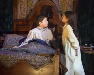 Henry Baratz (left) as Colin Craven and Anya Rothman (right) as Mary Lennox in The Secret Garden