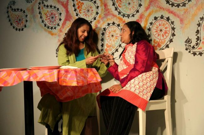 Nayab Hussain (left) as Shafana and Meera Narasimhan (right) as Aunt Sarrinah in Soft Revolution