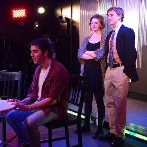 Max Rome (left) as Jon, with Madison Middleton (center) as Susan, and Dylan Kaufman (right) as Mike
