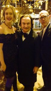 TheatreBloom Founder Amanda N. Gunther (left) with David Keltz as Edgar Allan Poe (center) and Yellow Sign Theatre Artistic Director Craig Coletta (right)