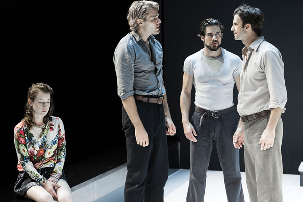 (L to R) Catherine Combs as Catherine, Dave Register as Rodolpho, Alex Esola as Marco, and Frederick Weller as Eddie