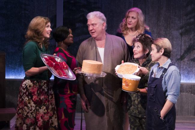 Peggy Yates (Ruth Ann), Nova Y. Payton (Gloria), Dan Manning (Earl), Donna Migliaccio (Oralene), Ilona Dulaski (Berneice), Naomi Jacobson (Bo Jack) in Silver Belles at Signature Theatre