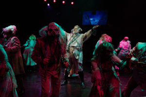 Andrew Horn (center) as the Ghost of Jacob Marley
