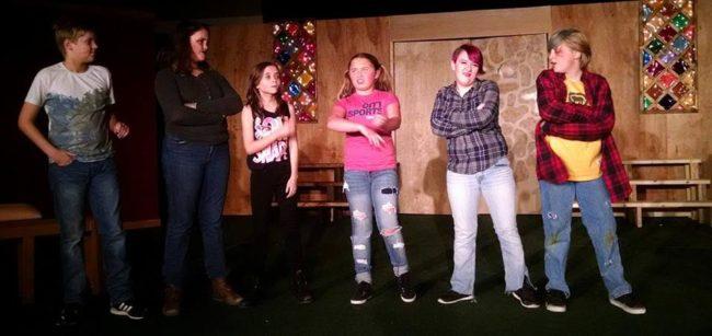 (L to R) The Horrible Herdman Children: Ryan Dickson-Burke as Ralph, Sena Weaver as Ollie, Emily Ingle as Claude, Emma VanBuskirk as Imogene, Melly Byram as Gladys, and Cody Baxa as Leroy