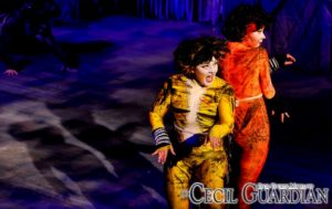 Tim Sheridan (where?) as Macavity, with Erin McArthur (left) as Demeter and Darby McLaughlin (right) as Bombalurina in Cats