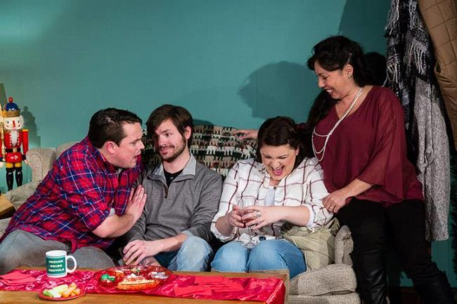 (L to R) Thom Huenger as RJ, Steve Custer as Andy, Amanda Spellman as JR, and Lia Seltzer as Judith in Family Holiday