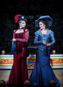 "Kristen Beth Williams as Sibella Hallward and Kristen Hahn as Phoebe D'Ysquith in a scene from ""A Gentleman's Guide to Love & Murder."""