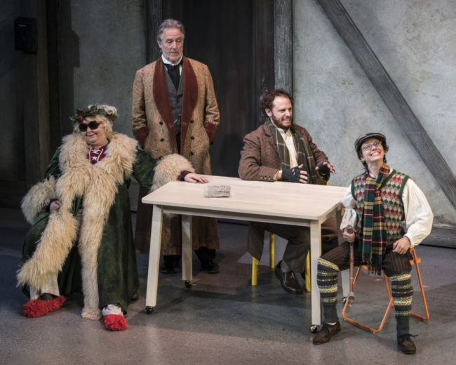 Jaime Moyer, John Lescault, Aaron Bliden and Tina Shearer in Twist Your Dickens Photo by Theresa Castracane