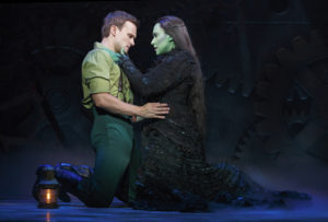Jeremy Woodard (left) as Fiyero and Jessica Vosk (right) as Elphaba