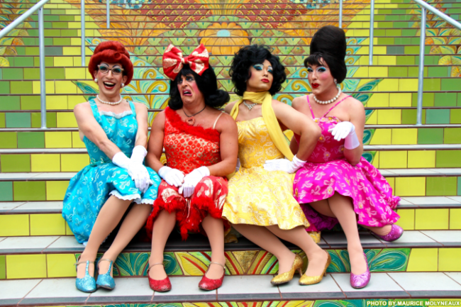 The Kinsey Sicks (L to R) Winnie (Nathan Marken), Rachel (Ben Schatz), Trixie (Jeff Manabat), and Trampolina (Spencer Brown)