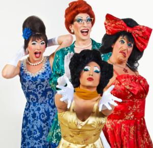 Trampolina (in blue- Spencer Brown), Winnie (in green- Nathan Marken), Rachel (in red- Ben Schatz), and Trixie (in yellow- Jeff Manabat)