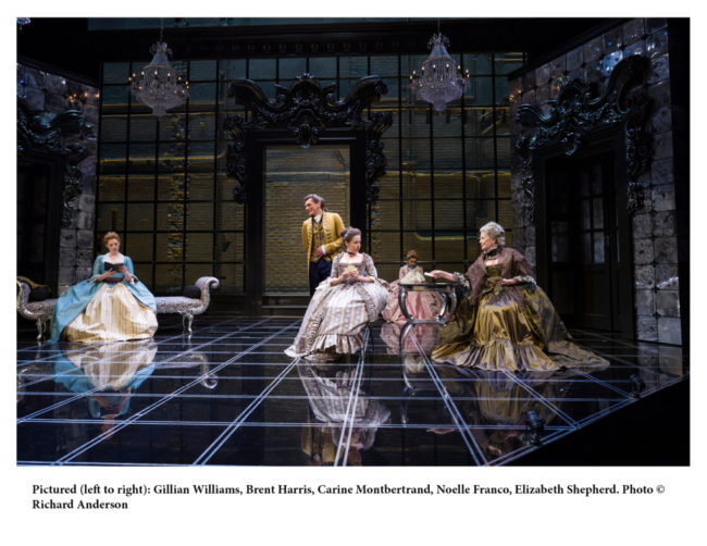 (L to R) Gillian Williams, Brent Harris, Carine Montbertrand, Noelle Franco, and Elizabeth Shepherd in Les Liaisons Dangereuses