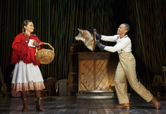 Lisa Helmi Johanson as Little Red Ridinghood and Anthony Chatmon II as The Wolf in Into The Woods. Photo by Joan Marcus