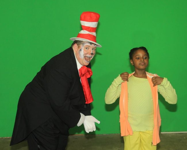Stephen P. Yednock (left) as The Cat in the Hat and Courtney Harris (right) as Jojo