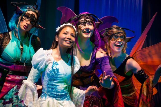 Francesca Blume, Kathy Gordon and Emily Whitworth as the Fairies with Eliza Smith as Briar Rose (Sleeping Beauty)