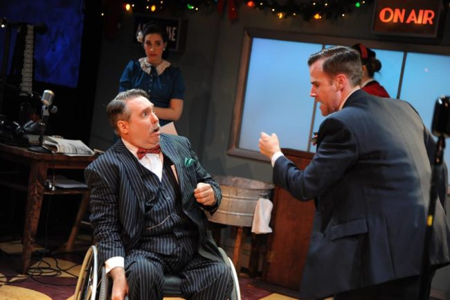Rob McQuay (left) as Freddie Filmore playing Uncle Billy and Evan Casey (right) as Jake Laurents playing George Bailey in It's a Wonderful Life: A Live Radio Play