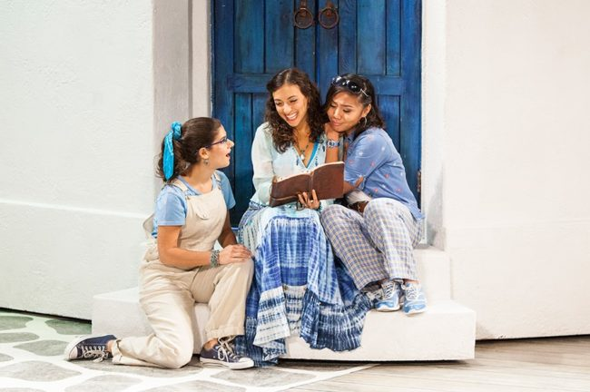 Chloe Kounadis (left) as Ali, Lizzie Markson (center) as Sophie, and Niki Badua (right) as Lisa