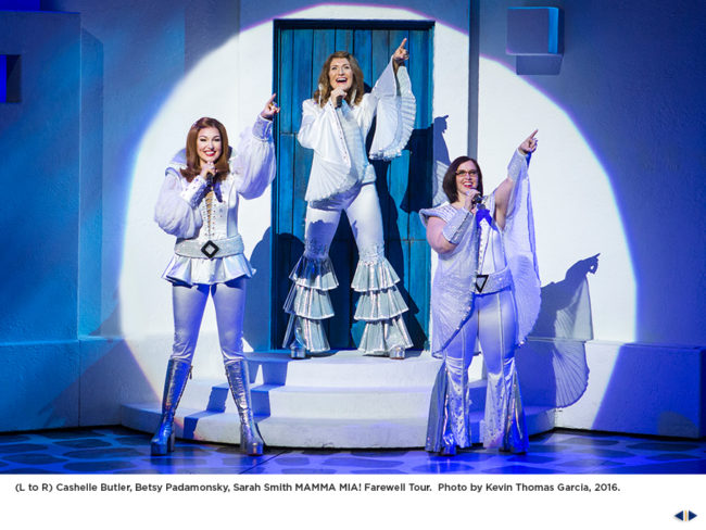 (L to R) Cachelle Butler, Betsy Padamonsky, and Sarah Smith in Mamma Mia The Farewell Tour