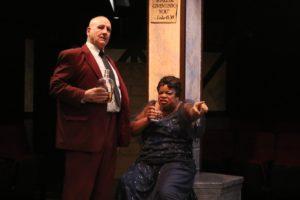 Frank Mancino (left) as Mr. Peachum and Kay-Megan Washington (right) as Mrs. Peachum