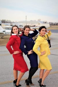 Ashley Zielinski (left) as Gloria, Moriah Whiteman (center) as Gretchen, and Nina Marti (right) as Gabriella in Boeing Boeing