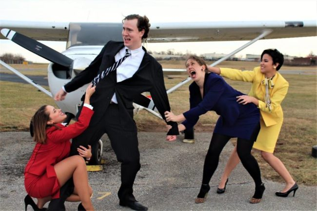(L to R) Ashley Zielinski as Gloria, David Johnson as Bernard, Nina Marti as Gabriella, and Moriah Whiteman as Gretchen in Boeing Boeing