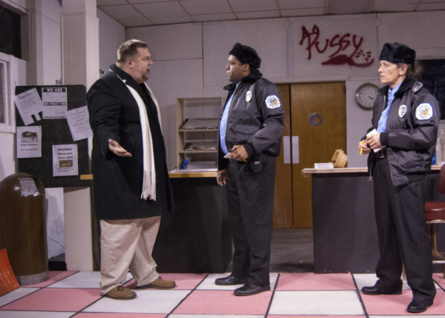 Mike Zellhofer (left) as Max Tarasov, J. Purnell Hargrove (center) as Officer James Bailey and Tracey Grimes (right) as Officer Randy Osteen