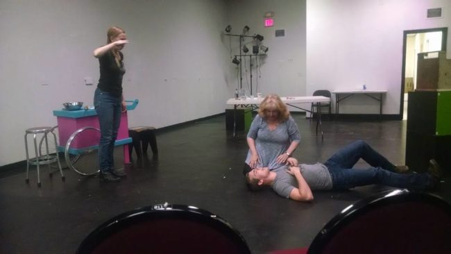 A Rehearsal Photo from Exit Pluto with Barbara Hauck (left), Janise Whelan (center), and Flynn Harne (right)
