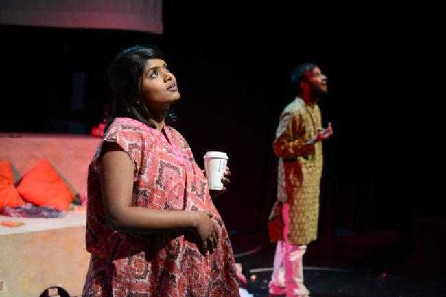 Suraiya (Saraniya Tharmarajah) considers the questions by unborn Baby Amit (Utkarsh Rajawat)