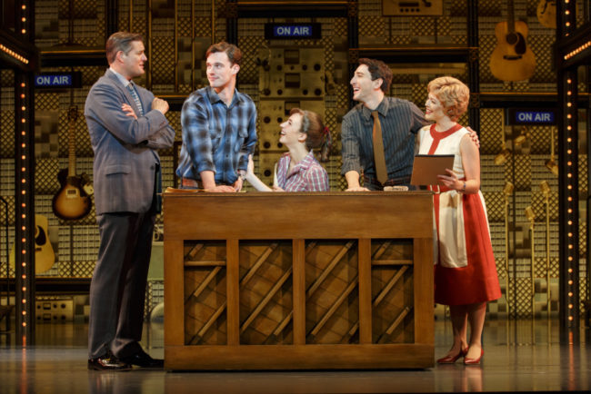 L to R: Curt Bouril as Don Kirshner, Liam Tobin as Gerry Goffin, Julia Knitel as Carole King, Ben Fankhauser as Barry Man, and Erika Olson as Cynthia Weil in Beautiful: The Carole King Musical