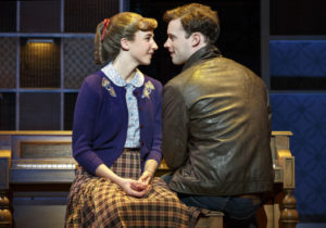 Julia Knitel (left) as Carole King and Liam Tobin (right) as Gerry Goffin in Beautiful: The Carole King Musical