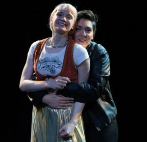 Caitlin Partridge (left) as Imogen and Briana Manente (right) as Posthumus