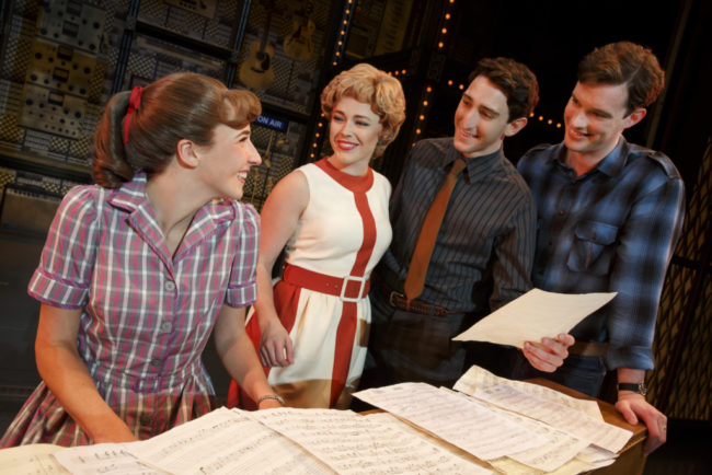 "Four Friends. Julia Knitel (""Carole King""), Erika Olson (""Cynthia Weil""), Ben Fankhauser (""Barry Mann"") and Liam Tobin (""Gerry Goffin"")"