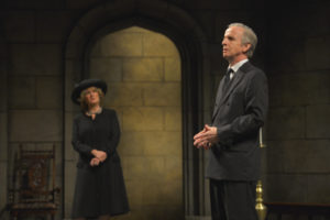 Jeanne Paulsen as Camilla and Robert Joy as King Charles in the American Conservatory Theater production of King Charles III, directed by David Muse