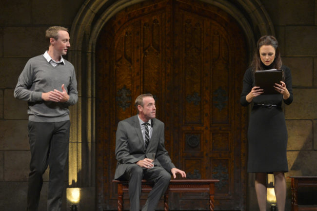 Christopher McLinden as Prince William, Ian Merrill Peakes as Prime Minister Evans and Allison Jean White as Kate in the American Conservatory Theater production of King Charles III, directed by David Muse