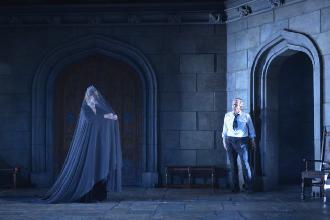 Chiara Motley as Ghost and Robert Joy as King Charles in the American Conservatory Theater production of King Charles III, directed by David Muse