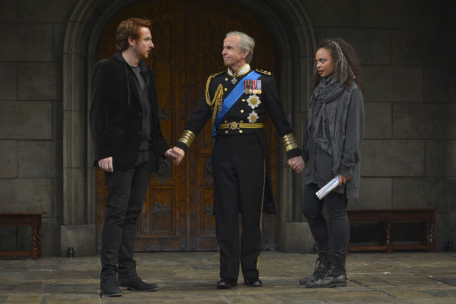 Harry Smith as Prince Harry, Robert Joy as King Charles and Michelle Beck as Jessica in the American Conservatory Theater production of King Charles III, directed by David Muse