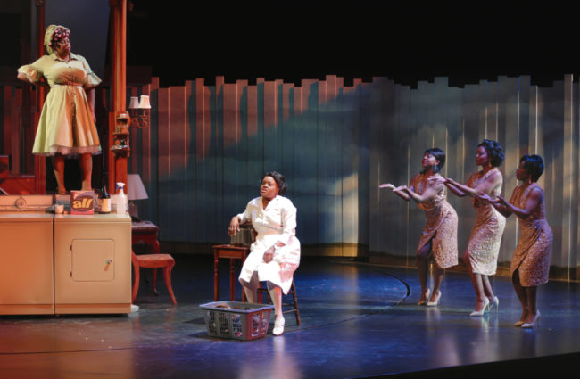 Theresa Cunningham (The Washing Machine), Nova Y. Payton (Caroline Thibodeaux), Olivia Russell, Kara-Tameika Watkins, and Felicia Curry (The Radio) in Round House Theatre's current production of CAROLINE, OR CHANGE.
