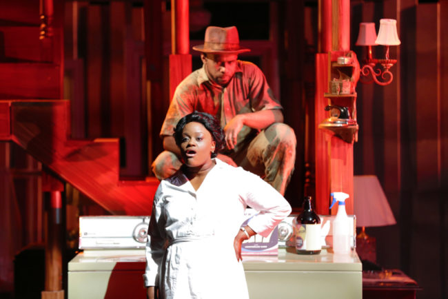 Nova Y. Payton (Caroline Thibodeaux) and V. Savoy McIlwain (The Dryer) in Round House Theatre's current production of CAROLINE, OR CHANGE.