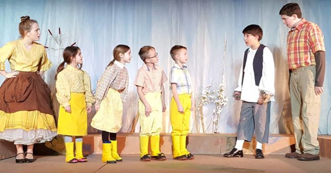 (L to R) Ida (Raquel Hyatt) and her Ducklings (Amber Holt, Lina Cordero, Soren Lange and Liam Lange) Ugly (Nick Dimitriades) and Drake (Jules Einhorn)