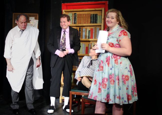 Jeff Murray (left) as Max Price, John Dignam (center) as Milt Fields, and Miranda Snyder (right) as Helen in Laughter on the 23rd Floor
