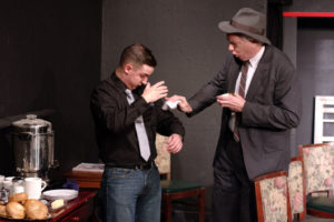 Michael Parks (left) as Lucas Brinkman and Tim Evans (right) as Val Slotsky in Laughter on the 23rd Floor
