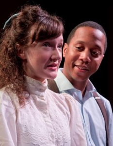 Laura Rocklyn (left) as Emily Webb and JC Payne (right) as George Gibbs in Our Town