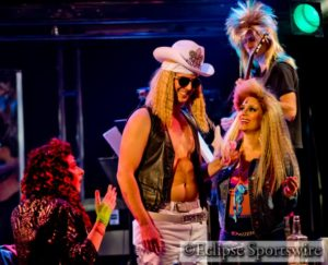 Stacee Jacxx (center- Art Bookout) and the ensemble of Rock Of Ages
