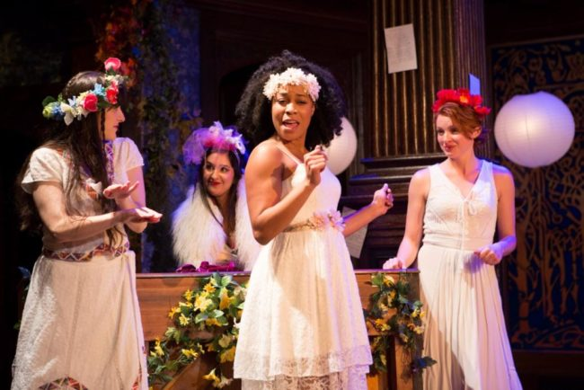 The brides in the Forest of Arden take to celebratory song in Shakespeare's As You Like It. Pictured, l to r: Dani Stoller, Kimberly Chatterjee, Antoinette Robinson, Lindsay Alexandra Carter.