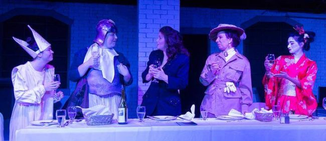 (L to R) Karli Cole as Pope Joan, Katie Hileman as Dull Gret, Gené Fouché as Marlene, Julie Herber as Isabella Bird, and Surasree Das as Lady Nijo in Top Girls