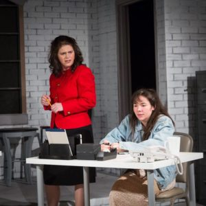 Gené Fouché (left) as Marlene and Karli Cole (right) as Angie in Top Girls