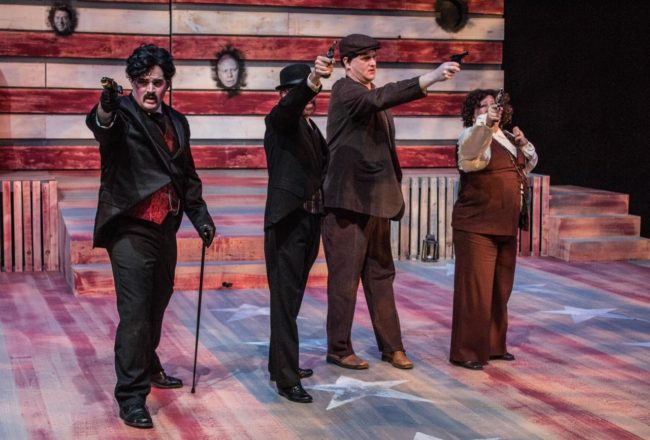 (L to R) Jake Stuart as John Wilkes Booth, James Fitzpatrick as Charles J. Guiteau, Mark Lloyd as Leon Czolgosz, and Laurie Sentman Starkey as Sara Jane Moore